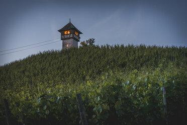 Germany, Meersburg, Winzerturm at blue hour - KEBF000399