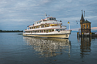 Germany, Constance, Tourist boat arriving at the harbor - KEB000405