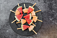 Plate of watermelon and rockmelon popsicles - SARF002840