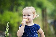 Portrait of little blond girl eating pastry - HAPF000685
