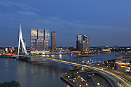 Netherlands, Rotterdam, Erasmusbrug and Nhow Hotel in the evening, blue hour - FCF001026