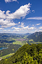 Germany, Bavaria, Allgaeu, Iller Valley, Oberstdorf and Freiberg lake, panoramic view from Himmelschrofen - WGF000929