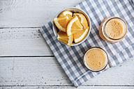Orange, carrot, pineapple, ginger smoothie in jars - IPF000322