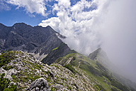 Germany, Bavaria, Allgaeu, Allgaeu Alps, Nebelhorn and clouds - WGF000930