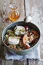 Hearty oat flakes bowl with fruits, goat cheese and thyme - EVGF003043