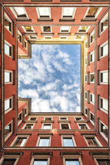 Italy, Milan, facades of a backyard seen from below - CST001134