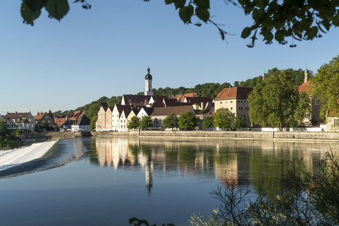 Germany, Bavaria, Upper Bavaria, historic centre of Landsberg am Lech reflected in the river Lech - PCF000256