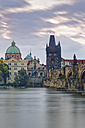 Czech Republic, Prague, Old town, Charles Bridge, Church of St Francis and Old Town Bridge Tower in the evening - GFF000716