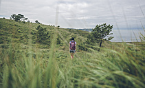 Spain, Asturias, back view of woman with backpack hiking on green hills - DAPF000250