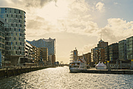 Germany, Hamburg, Hafencity, harbour, modern buildings, Elbe Philharmonic Hall in the background - TAM000539