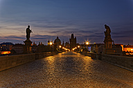 Czech Republic, Prague, Charles Bridge and Old Town Bridge Tower in the evening - GFF000734