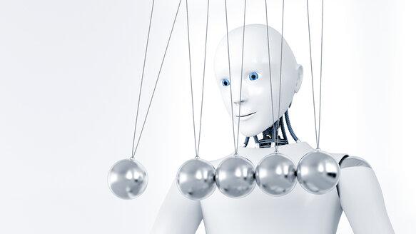 Robot watching Newton's cradle, 3D Rendering - AHUF000217