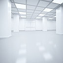 Futuristic empty storehouse, 3D Rendering - UWF000941