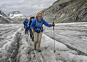Switzerland, Pennine Alps, Mountaineers at the Otemma Glacier - ALRF000674
