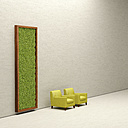 Two armchairs and living wall, 3D Rendering - UWF000943