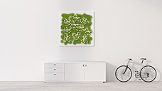 Sideboard, bicycle and living wall, 3D Rendering - UWF000949