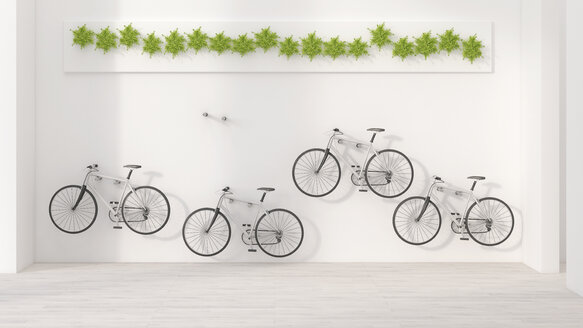 Four bicycles hanging on wall, 3D Rendering - UWF000952