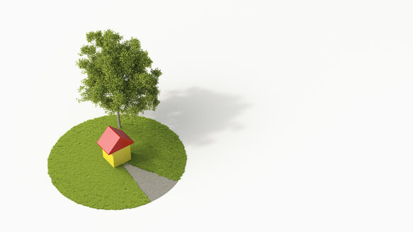 One-family house under a tree, 3D Rendering - UWF000955