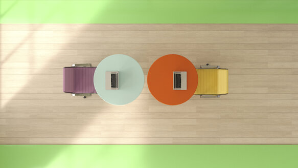Two workspaces seen from above, 3D Rendering - UWF000958