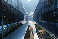 Canada, Ontario, Toronto, financial district, modern bank buildings, clouds, angle view - FC001050