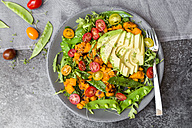 Fresh salad with rocket, sweet potato, avocado, tomato, chia seeds, snow pea - SARF002848