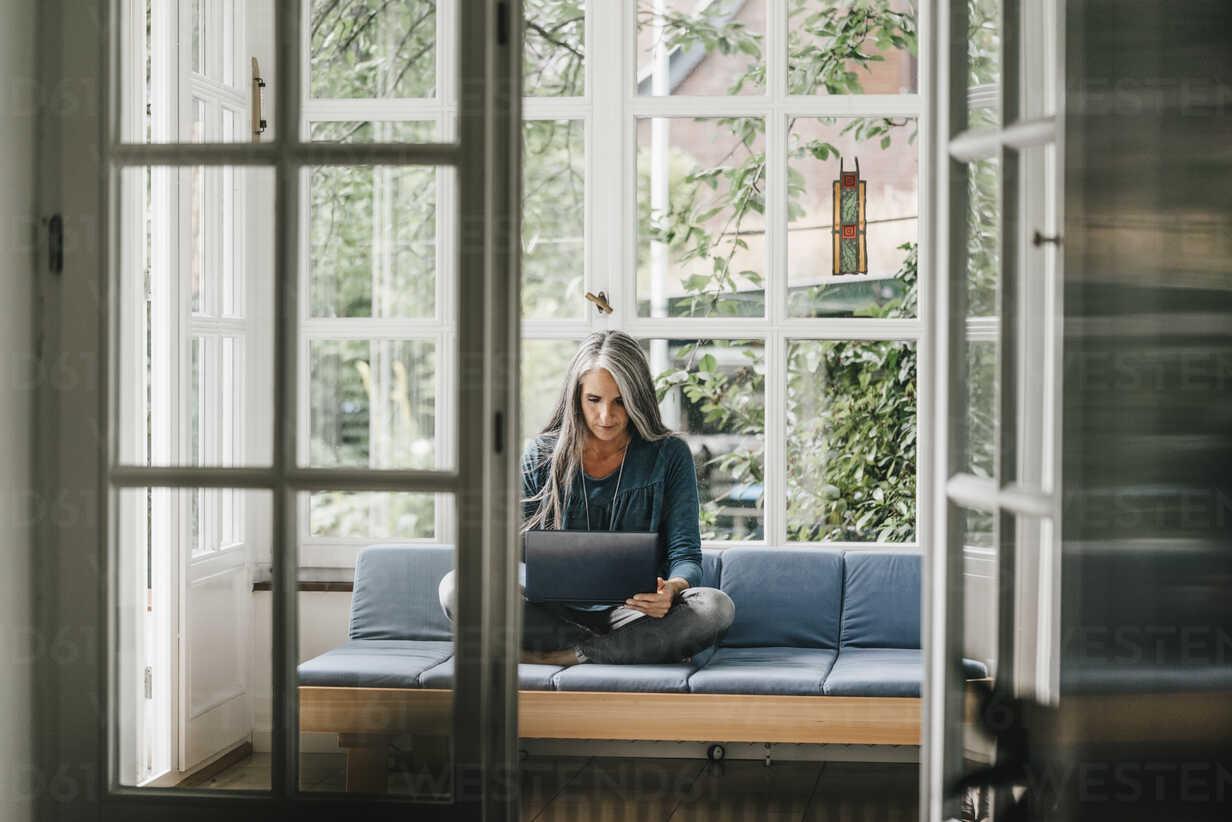 Woman sitting on lounge in winter garden using laptop - KNSF000324 - Kniel Synnatzschke/Westend61