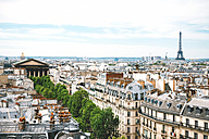 France, Paris, view of the city with the Eiffel Tower at right and Madeleine church at left - GEMF000968