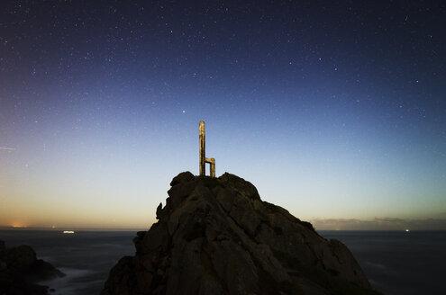 Spain, Galicia, Ferrol, Cape Prior at night - RAEF001438