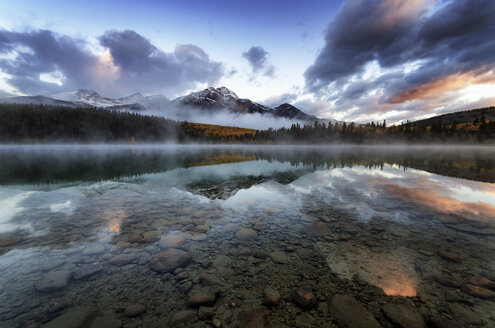 Canada, Jasper National Park, Jasper, Pyramid Mountain, Patricia Lake in the morning - SMAF000556