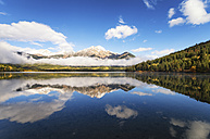 Canada, Jasper National Park, Jasper, Pyramid Mountain, Pyramid Lake in the morning - SMAF000562