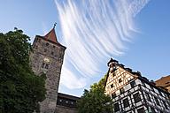 Germany, Nuremberg, view to tower and Pilatus House at Tiergaertnertorplatz - SIEF007098