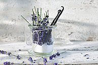 Glass of lavender sugar with avender blossoms and vanilla beans - ASF006008