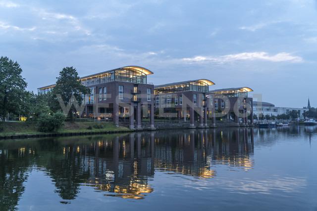 Germany, Luebeck, Radisson Blu Senator Hotel at the trave river at dusk - PC000260