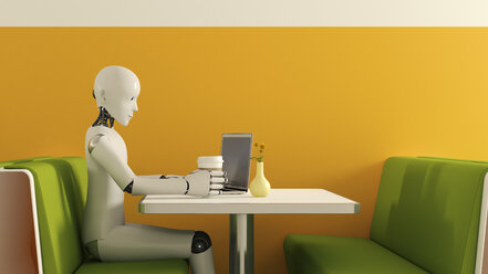 Robot with laptop in cafe, 3D Rendering - AHUF000227