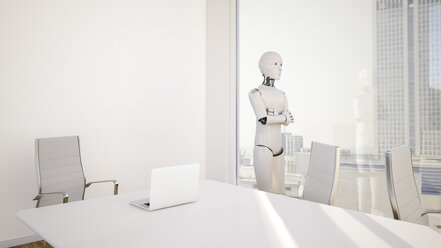 Robot in office, looking through window - AHUF000233