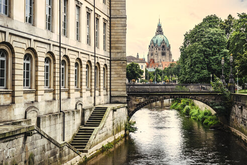 Germany, Lower Saxony, Hannover, New town hall and canal, Leine river - KRPF001780