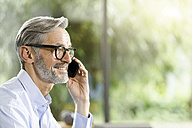 Smiling man with grey hair and beard on the phone - SBOF000237