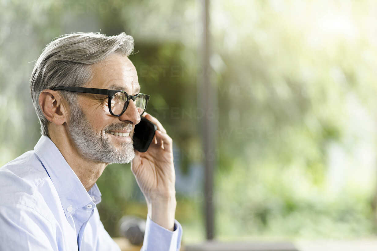 Smiling man with grey hair and beard on the phone - SBOF000237 - Steve Brookland/Westend61