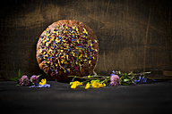 Flower bread on dark wood - MAEF011979