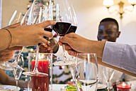 Friends toasting with wine during a Christmas dinner - ABZF001063