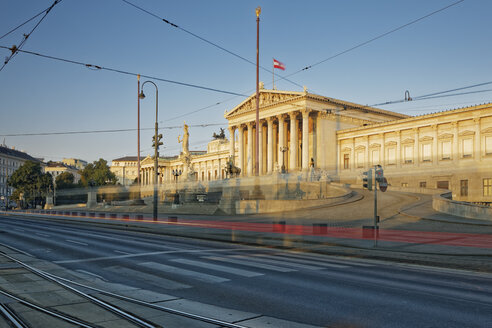 Austria, Vienna, Austrian Parliament, Light trail of tram - GFF000750