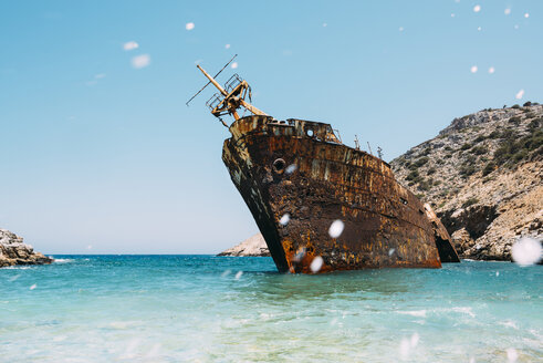 Greece, Amorgos, Shipwreck of the Olympia - GEMF000995