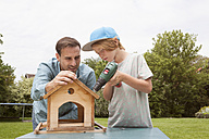 Father and son building up a birdhouse - RBF005120