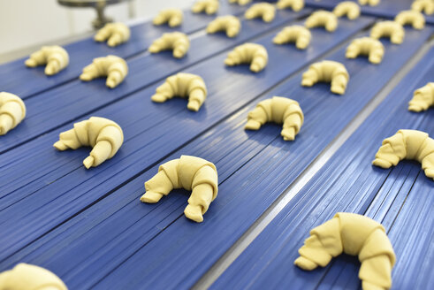 Production line in a baking factory with croissants - LYF000536