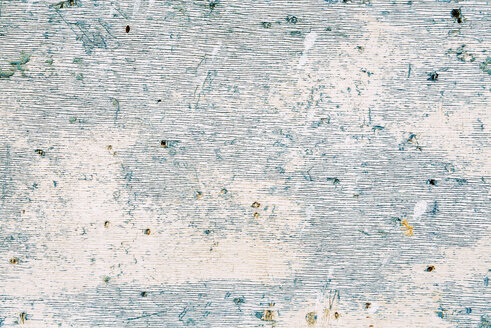 Texture of an old wooden door painted in blue and white - GEMF000998