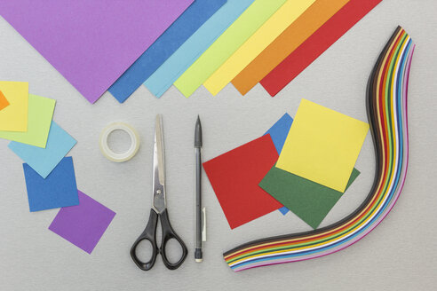 Tools and colourful paper for craft projects - MELF000146