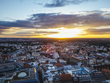 Germany, Leipzig, View of old town at sunset - KRPF001814