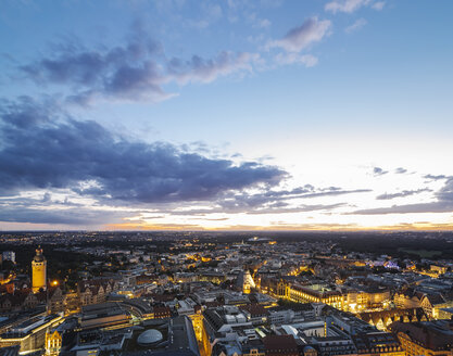 Germany, Leipzig, View of old town at sunset - KRPF001817
