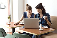 Two smiling friends sitting in a coffee shop looking at laptop - TSFF000086