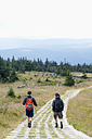 Germany, Harz, Brocken, back view of two friends hiking - NDF000595